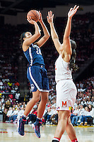 College Park, MD - DEC 29, 2016: Connecticut Huskies guard/forward Napheesa Collier (24) shots over Maryland Terrapins center Brionna Jones (42) during the game between No. 1 UConn and the No. 3 Terrapins at the XFINITY Center in College Park, MD. UConn defeated Maryland 87-81. (Photo by Phil Peters/Media Images International)