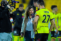 Sky news reporter Olivia Caldwell interviews Phoenix captain Steven Taylor after the A-League football match between Wellington Phoenix and Perth Glory at Westpac Stadium in Wellington, New Zealand on Sunday, 27 October 2019. Photo: Dave Lintott / lintottphoto.co.nz