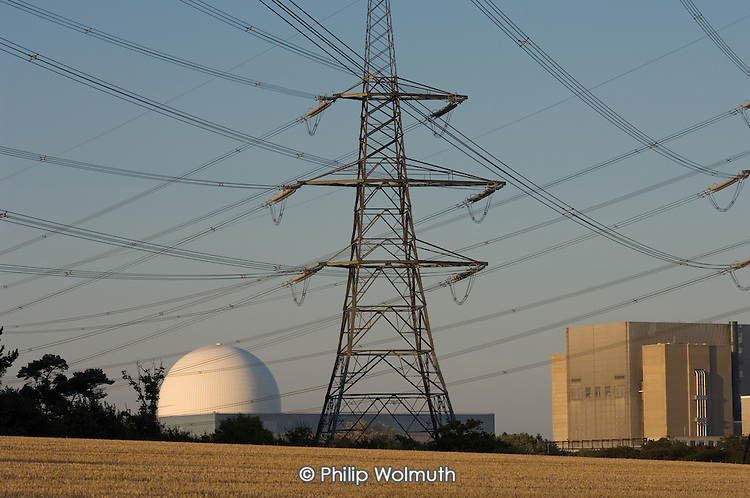 Electricity pylons and Sizewell A and B nuclear reactors, Suffolk.