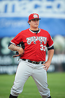 Carolina Mudcats pitcher Chase Johnson-Mullins (33) during a game against the Frederick Keys on June 4, 2016 at Nymeo Field at Harry Grove Stadium in Frederick, Maryland.  Frederick defeated Carolina 5-4 in eleven innings.  (Mike Janes/Four Seam Images)