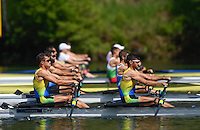 Lucerne, SWITZERLAND<br /> Heat of the men's double scull. CYP LM2X. lane 1.<br /> 2016 European Olympic Qualifying Regatta, Lake Rotsee.<br /> <br /> Sunday  22/05/2016<br /> <br /> [Mandatory Credit; Peter SPURRIER/Intersport-images]