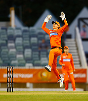 1st November 2019; Western Australia Cricket Association Ground, Perth, Western Australia, Australia; Womens Big Bash League Cricket, Perth Scorchers versus Melbourne Renegades; Amy Jones of the Perth Scorchers leaps to take a wayward return from the outfield