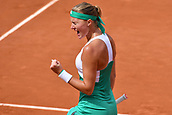 4th June 2017, Roland Garros, Paris, France; French Open tennis championships;  Kristina Mladenovic (FRA)during her win over Garbine Muguruza