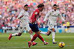 Atletico de Madrid's Antoine Griezmann and Real Madrid's Carlos Henrique Casemiro (L) and Raphael Varane (R) during La Liga match between Atletico de Madrid and Real Madrid at Wanda Metropolitano Stadium in Madrid, Spain. February 09, 2019. (ALTERPHOTOS/A. Perez Meca)