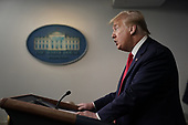 United States President Donald J. Trump speaks during a news conference in the Brady Press Briefing Room of the White House in Washington, D.C., U.S., on Friday, May 22, 2020. Trump did not wear a face mask during most of his tour of Ford Motor Co.'s ventilator facility Thursday, defying the automaker's policies and seeking to portray an image of normalcy even as American coronavirus deaths approach 100,000. <br /> Credit: Andrew Harrer / Pool via CNP