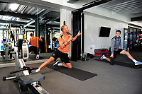 Mike van der Hoorn (left) shares a joke with team mate George Byers (right) of Swansea City in the gym during the Swansea City Training at The Fairwood Training Ground, in Swansea, Wales, UK. Wednesday 02 November 2018