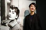 January 9, 2018, Tokyo, Japan - Japanese drummer and actress Shishido Kavka poses before a picture of British actress Audrey Hepburn at a preview of Hepburn's photo exhibition at the Mitsukoshi department store in Tokyo on Tuesday, January 9, 2018. The exhibition displays some 200 pictures of late actress through January 22. (Photo by Yoshio Tsunoda/AFLO) LWX -ytd-