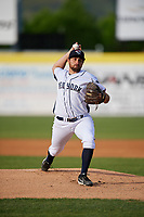 Binghamton Rumble Ponies starting pitcher Mickey Jannis (4) delivers a pitch during a game against the Altoona Curve on May 17, 2017 at NYSEG Stadium in Binghamton, New York.  Altoona defeated Binghamton 8-6.  (Mike Janes/Four Seam Images)