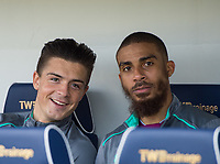 Aston Villa Jack Grealish and Aston Villa Lewis Grabban before the Sky Bet Championship match between Millwall and Aston Villa at The Den, London, England on 6 May 2018. Photo by Andrew Aleksiejczuk / PRiME Media Images.