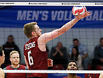 KENOSHA, WI - APRIL 28:  Stevens Institute's Jacob Patterson put up a one handed set at the Division III Men's Volleyball Championship held at the Tarble Athletic and Recreation Center on April 28, 2018 in Kenosha, Wisconsin. (Photo by Steve Woltmann/NCAA Photos via Getty Images)
