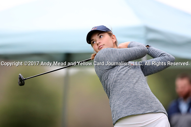 CHAPEL HILL, NC - OCTOBER 14: Virginia's Kate Harper on the 10th tee. The second round of the Ruth's Chris Tar Heel Invitational Women's Golf Tournament was held on October 14, 2017, at the UNC Finley Golf Course in Chapel Hill, NC.