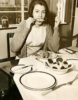 BNPS.co.uk (01202 558833)<br /> Pic: Sworders/BNPS<br /> <br /> Another published picture show's Keeler tucking into chicken legs on the day of her release from prison in 1964.<br /> <br /> Previously unseen risqué photos of Christine Keeler taken before she became embroiled in the infamous Profumo scandal have come to light.<br /> <br /> One of the images of her posing topless is believed to have been taken in 1960 - a year before she embarked on her infamous affair with married Secretary of State for War John Profumo.<br /> <br /> It shows the fresh faced model wearing just trousers with her arms folded to cover her modesty.