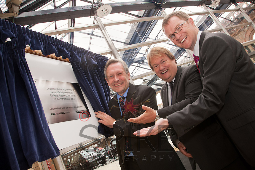 Pictured from left: Leicester Mayor Sir Peter Soulsby, Spencer Gibbens of Network Rail and David Horne, managing director of East Midlands Trains