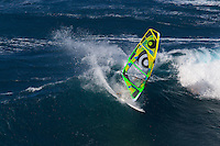 Manu Bouvet (FRA) windsurfing in Ho'okipa Beach Park (Maui, Hawaii, USA)
