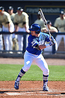 Indiana State Sycamores infielder Dane Giesler (13) at bat during a game against the Vanderbilt Commodores on February 21, 2015 at Charlotte Sports Park in Port Charlotte, Florida.  Indiana State defeated Vanderbilt 8-1.  (Mike Janes/Four Seam Images)