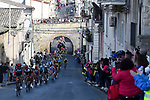 The peleton pass through some stunning towns during Stage 4 a 202km very hilly stage running from Catania to Caltagirone, Sicily, Italy. 8th May 2018.<br /> Picture: LaPresse/Fabio Ferrari | Cyclefile<br /> <br /> <br /> All photos usage must carry mandatory copyright credit (&copy; Cyclefile | LaPresse/Fabio Ferrari)