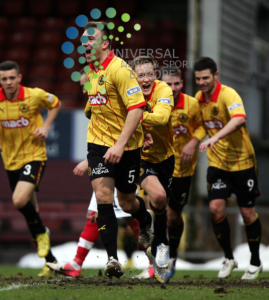 Partick Thistle v Cowdenbeath.Irn Bru 1st Division.Saturday 26th Jan 2013.Firhill Stadium -- Score 2-1.Conrad Balatoni celebrates his winner..Photo by Tommy Taylor Universal News and Sport