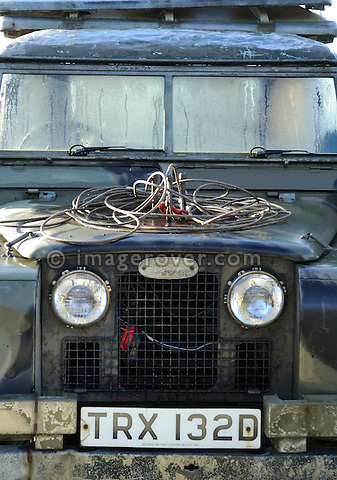 Battered 1960s ex-army Land Rover Series 2a. --- No releases available. Automotive trademarks are the property of the trademark holder, authorization may be needed for some uses.