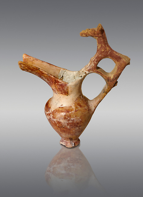 Bronze Age Anatolian terra cotta spouted pitcher with animal shaped handle - 19th to 17th century BC - Kültepe Kanesh - Museum of Anatolian Civilisations, Ankara, Turkey. Against a grey background.