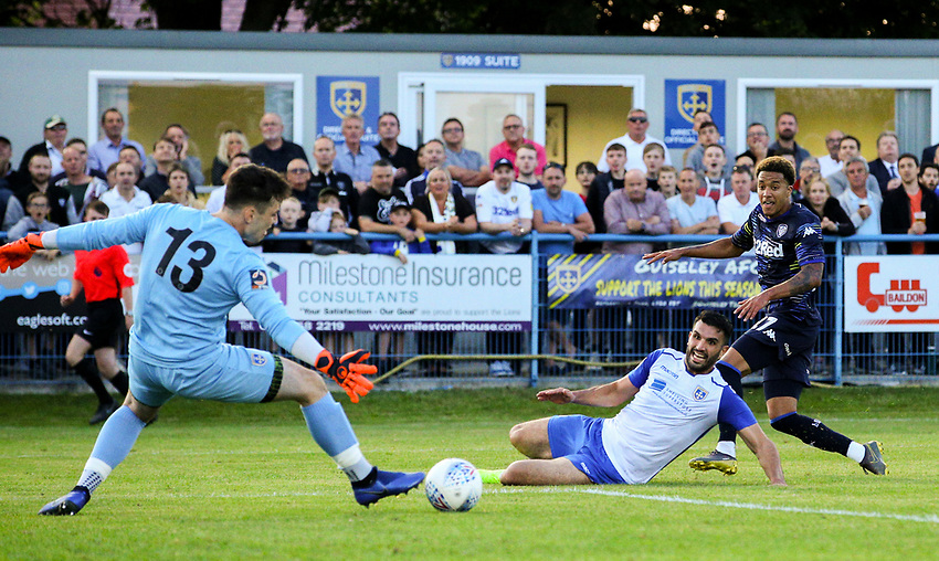Leeds United's Helder Costa scores his side's first goal  <br /> <br /> Photographer Alex Dodd/CameraSport<br /> <br /> Football Pre-Season Friendly - Guiseley v Leeds United - Thursday July 11th 2019 - Nethermoor Park - Guiseley<br /> <br /> World Copyright © 2019 CameraSport. All rights reserved. 43 Linden Ave. Countesthorpe. Leicester. England. LE8 5PG - Tel: +44 (0) 116 277 4147 - admin@camerasport.com - www.camerasport.com