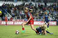 Cary, NC - Saturday April 22, 2017: Lindsey Horan (left) is tripped up by Makenzy Doniak (right) during a regular season National Women's Soccer League (NWSL) match between the North Carolina Courage and the Portland Thorns FC at Sahlen's Stadium at WakeMed Soccer Park.