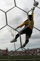 Canada's goalkeeper Karina Leblanc (1) punches out a save. The U.S. Women's National Team defeated 1-0 in a friendly match at Marina Auto Stadium in Rochester, NY on July 19, 2009. Abby Wambach of the USWNT scored her 100th career goal in the second half..