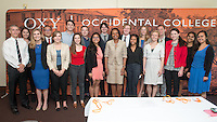 """Former U.S. Secretary of State & National Security Advisor and professor of political science at Stanford University Condoleezza Rice speaks in Thorne Hall as part of a moderated discussion with Dr. Coit """"Chip"""" Blacker '72 on Monday, April 18, 2016. Dr. Rice spoke at Oxy and met with students, faculty and guests and is Oxy's 2016 Jack Kemp '57 Distinguished Lecturer.<br /> (Photo by Marc Campos, Occidental College Photographer)"""