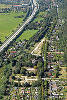 Gewerbe Rothenhauschaussee: EUROPA, DEUTSCHLAND, HAMBURG, BERGEDORD (EUROPE, GERMANY), 06.09.2007: Bergedorf, Vier und Marschlande, Geplantes Gewerbegebiet an der A25, Kleingarten, Verein, 614, Rothenhauschaussee, ehemaliges Asylanten Heim,  Neubau, Bau, Baugrundstueck,  Luftbild, Luftansicht, Air, Aufwind-Luftbilder..c o p y r i g h t : A U F W I N D - L U F T B I L D E R . de.G e r t r u d - B a e u m e r - S t i e g 1 0 2, .2 1 0 3 5 H a m b u r g , G e r m a n y.P h o n e + 4 9 (0) 1 7 1 - 6 8 6 6 0 6 9 .E m a i l H w e i 1 @ a o l . c o m.w w w . a u f w i n d - l u f t b i l d e r . d e.K o n t o : P o s t b a n k H a m b u r g .B l z : 2 0 0 1 0 0 2 0 .K o n t o : 5 8 3 6 5 7 2 0 9.C o p y r i g h t n u r f u e r j o u r n a l i s t i s c h Z w e c k e, keine P e r s o e n l i c h ke i t s r e c h t e v o r h a n d e n, V e r o e f f e n t l i c h u n g  n u r  m i t  H o n o r a r  n a c h M F M, N a m e n s n e n n u n g  u n d B e l e g e x e m p l a r !.