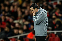 28th November 2019; Emirates Stadium, London, England; UEFA Europa League Football, Arsenal versus Frankfurt; A dejected Arsenal Manager Unai Emery as Daichi Kamad of Eintracht Frankfurt scores for 1-2 in the 62nd minute - Editorial Use