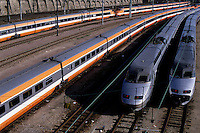 French TGV trains waiting on railtracks for departure and arrival, Paris, France.
