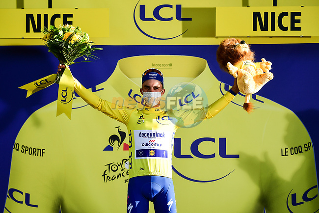 Julian Alaphilippe (FRA) Deceuninck-Quick Step wins Stage 2 and takes over the race leaders Yellow Jersey of Tour de France 2020, running 186km from Nice Haut Pays to Nice, France. 30th August 2020.<br /> Picture: ASO/Alex Broadway | Cyclefile<br /> All photos usage must carry mandatory copyright credit (© Cyclefile | ASO/Alex Broadway)