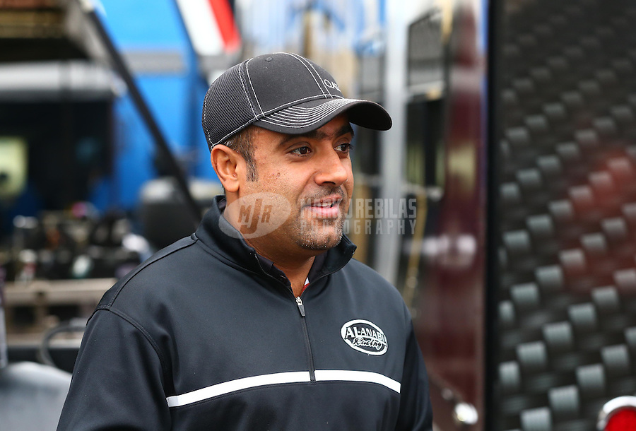 Jul. 28, 2013; Sonoma, CA, USA: NHRA top fuel dragster driver Khalid Albalooshi during the Sonoma Nationals at Sonoma Raceway. Mandatory Credit: Mark J. Rebilas-