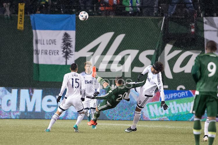 Portland, Oregon - Wednesday, February 15, 2017: Portland Timbers vs Vancouver Whitecaps FC in a preseason match at Providence Park.  Final Score: Portland Timbers 2, Vancouver Whitecaps 1
