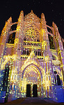 """""""La Cathédrale Infinie"""" spectacle in the cathedral of Beaubais, Oise, Picardie, France"""