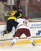 John Gustafsson (Merrimack - 28), Danny Linell (BC - 10) - The Boston College Eagles defeated the visiting Merrimack College Warriors 2-1 on Wednesday, January 21, 2015, at Kelley Rink in Conte Forum in Chestnut Hill, Massachusetts.