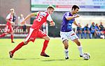 2018-08-11 / Voetbal / Seizoen 2018-2019 / Beker van Belgi&euml; / Hoogstraten VV - Wevelgem City / Bob Swaegers (l. Hoogstraten) met Gert Decorte<br /> <br /> ,Foto: Mpics