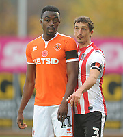 Blackpool's Joe Dodoo under pressure from Exeter City's Craig Woodman<br /> <br /> Photographer Kevin Barnes/CameraSport<br /> <br /> Emirates FA Cup First Round - Exeter City v Blackpool - Saturday 10th November 2018 - St James Park - Exeter<br />  <br /> World Copyright &copy; 2018 CameraSport. All rights reserved. 43 Linden Ave. Countesthorpe. Leicester. England. LE8 5PG - Tel: +44 (0) 116 277 4147 - admin@camerasport.com - www.camerasport.com