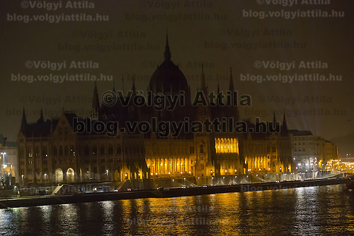 Photo of the Hungarian Parliament taken during the Earth Hour in Budapest, Hungary on March 23, 2013. ATTILA VOLGYI