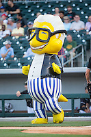 """Harry Canary"" of the Zooperstars entertains fans between innings of the International League game between the Columbus Clippers and the Charlotte Knights at BB&T BallPark on May 27, 2015 in Charlotte, North Carolina.  The Clippers defeated the Knights 9-3.  (Brian Westerholt/Four Seam Images)"