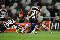 Sio Tomkinson of Otago scores a try during the 2018 Mitre 10 Cup Championship rugby semifinal between Canterbury and Counties Manukau at Forsyth Barr Stadium in Dunedin, New Zealand on Saturday, 20 October 2018. Photo: Joe Allison / lintottphoto.co.nz