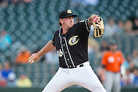 Charlotte Knights starting pitcher Chris Beck (16) in action against the Norfolk Tides at BB&T BallPark on April 20, 2016 in Charlotte, North Carolina.  The Knights defeated the Tides 6-3.  (Brian Westerholt/Four Seam Images)
