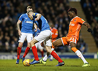 Blackpool's Armand Gnanduillet competing with Portsmouth's Matthew Clarke<br /> <br /> Photographer Andrew Kearns/CameraSport<br /> <br /> The EFL Sky Bet League One - Portsmouth v Blackpool - Saturday 12th January 2019 - Fratton Park - Portsmouth<br /> <br /> World Copyright &copy; 2019 CameraSport. All rights reserved. 43 Linden Ave. Countesthorpe. Leicester. England. LE8 5PG - Tel: +44 (0) 116 277 4147 - admin@camerasport.com - www.camerasport.com