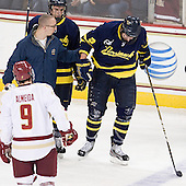 Kyle Bigos (Merrimack - 3) - The visiting Merrimack College Warriors tied the Boston College Eagles at 2 on Sunday, January 8, 2011, at Kelley Rink/Conte Forum in Chestnut Hill, Massachusetts.