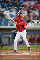 Williamsport Crosscutters left fielder Ben Pelletier (35) at bat during a game against the Mahoning Valley Scrappers on August 28, 2018 at BB&T Ballpark in Williamsport, Pennsylvania.  Williamsport defeated Mahoning Valley 8-0.  (Mike Janes/Four Seam Images)