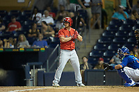Scott Schebler (15) of the Louisville Bats at bat against the Durham Bulls at Durham Bulls Athletic Park on May 28, 2019 in Durham, North Carolina. The Bulls defeated the Bats 18-3. (Brian Westerholt/Four Seam Images)
