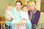 PYJAMAS: Enjoying the Make a Wish Foundation Pyjama Day on Friday at Rathmore Childcare Centre were staff members Julie Buckley and Michelle Fleming with babies Mark Hickey, Sarah Lenihan, Tara Kelliher.
