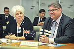 Marina Kaljurand (L), Foreign Minister of Estonia and Timo Soini (R), Foreign Minister of Finland, speaks during a meeting with Australian trade officials, at Parliament House, Canberra, Monday, February 29, 2016. AFP PHOTO/ MARK GRAHAM
