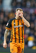 9th February 2019, Pride Park, Derby, England; EFL Championship football, Derby Country versus Hull City; Kamil Grosicki of Hull City covers his face after missing a shot on goal from close range