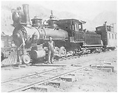 RGS 4-6-0 #2 with caboose W400 in Telluride yard.<br /> RGS  Telluride, CO  ca. 1903