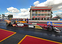 Jan 24, 2009; Chandler, AZ, USA; NHRA top fuel driver Larry Dixon during testing at the National Time Trials at Firebird International Raceway. Mandatory Credit: Mark J. Rebilas-